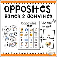 Get over 50 pages of fun opposite activities in this bundle! You& get opposite matching cards, bingo boards, activity sheets, and more. Opposites Preschool, Preschool Themes, Preschool Printables, Phonics Activities, Speech Therapy Activities, Book Activities, Bingo, Opposite Words, Speech Therapy