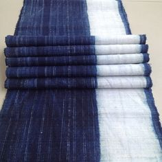 GET!!! 15% OFF Handwoven Hmong hemp indigo blue batik fabric,vintage hemp handspun  hill tribe fabrics from  Chiangmai Thailand,Table runner