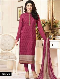 A stunning collection of straight pink Colored Heavy Embroidered Royal Crepe Salwar Suit, adorned with fine embroidered motifs, stone work and neck designs with beautiful work Bottom material. Each piece also comes with dupatta with border trim, Latest Salwar Suits, Lehenga Suit, Salwar Kameez Online, Indian Outfits, Indian Clothes, Desi Clothes, Crepe Dress, Traditional Outfits, Casual Wear