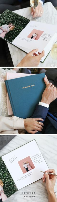 Our best for your best. The Wedding Guest Book from /artifactuprsng/ allows for the display of your favorite photos along with space for handwritten notes. Get started with as few as 10 photos and let your guests fill in the rest.