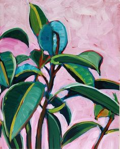 Gallery - Sari Not Sorry Art by Sari Shryack Painting Leaves Acrylic, Plant Painting, Plant Art, Botanical Wall Art, Guache, Tropical Art, Painted Leaves, Art For Art Sake, Art Inspo
