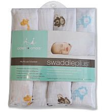 """$35 Any kind of swaddle packs  aden + anais 4-Pack SwaddlePlus Wraps - Safari Friends - aden and anais - Babies """"R"""" Us"""