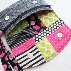 Don't forget patchwork lining is fantastic way to put your scraps to good use. This is the Zip Pocket Pouch Wristlet & this pattern is pretty perfect for patchwork lining. It doesn't take long to make the patchwork, it's visible when the pouch is open, and most of all it's a fun surprise! #patchwork #patchworklining #sewing #diy #pdfsewingpattern #zippocketpouchwristlet