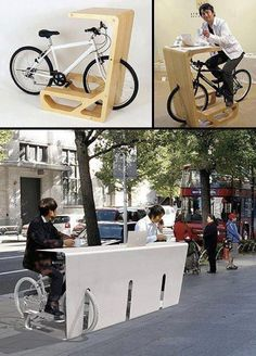 A bike rack that doubles as a desk for commuters: Street Furniture 'IT Pit Stop' from 'STORE MUU' design Urban Furniture, Street Furniture, Furniture Plans, Furniture Design, Concrete Furniture, Furniture Stores, Pimp Your Bike, Range Velo, Urban Intervention