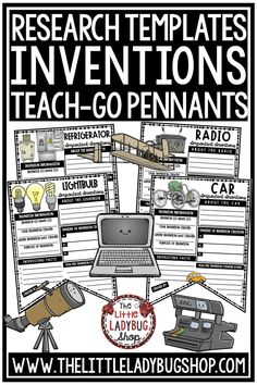 You will love using these Famous Inventions Teach- Go Pennants™. They are perfect for you to Print & Go with these Research Template Pennants for 16 Important Inventions! This Writing & Research activity is perfect for your students in 3rd grade, 4th grade, 5th grade, and home school classrooms. #inventionsforkids #inventionskidsprojects #inventionsresearch