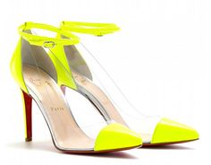 Neon yellow transparent pumps by Christian Louboutin #shoes