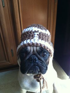aa8349323f1 Hats for Dogs- Hats for Pugs -Football Beanie- Sports Football- Pugs -