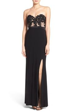 Jump Apparel 'Lucia' Strapless Lace Bodice Gown available at #Nordstrom