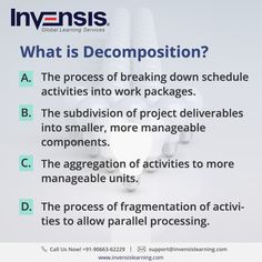 What is Decomposition? Want to improve  your CAPM knowledge? Earn 45 PDUs with our CAPM certification training , Denmark. Please visit www.invensislearning.com for more information on our upcoming CAPM courses  and around the world. #CAPMExam #CAPM #CAPMTraining #CAPMQuestion #CAPMCertification