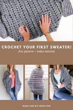 Easy Crochet Shrug, Crochet Shrug Pattern Free, Gilet Crochet, Crochet Jacket, Chunky Crochet, Sweater Knitting Patterns, Crochet Shawl, Free Pattern, Easy Knitting