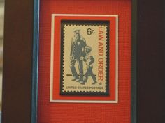 like the fabric and layers for my swede stamp   Vintage Framed Postage Stamp  Law and Order by RedBeansnRice, $12.50