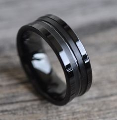 8mm Black Tungsten Carbide COMFORT-FIT Wedding Band Ring for Men and Women