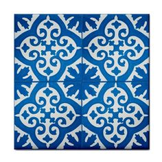 BLUE FILIGREE PATTERN~BATHROOM DECOR CERAMIC WALL TILE/ BBQ PATIO COASTER~NEW