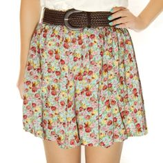 Floral Flower Print Elastic Short Skirt Blue $23.99 WORLD-WIDE FREE SHIPPING!!!| Asiaphilic.com