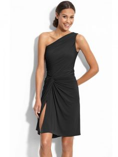 2012 Style Sheath / Column One Shoulder Sleeveless Knee-length  Satin Little  Black Dresses.   LOVE IT!!!