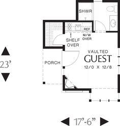 Tudor Style House Plan - 1 Beds 1 Baths 300 Sq/Ft Plan #48-641 Floor Plan - Main Floor Plan - Houseplans.com