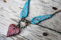 Winged Heart Steampunk Necklace made from polymer by ARTiFAXllc, $35.00