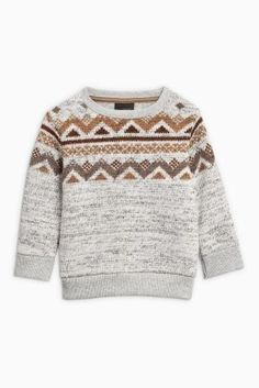 Jumpers don't get much cuter than this when it comes to your little boy's wardrobe. Let him rock that grandad jumper with a pair of jeans and tan booties.