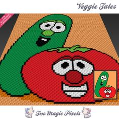 Veggie Tales crochet blanket pattern; c2c, knitting, cross stitch graph; pdf download; no written counts or row-by-row instructions by TwoMagicPixels, $3.99 USD