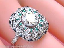 $8800 ANTIQUE STYLE ART DECO 1.22ct DIAMOND EMERALD ONYX CUSHION COCKTAIL RING