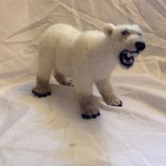 Polar bear sculpture needle felted polar bear by WoollyWildThings