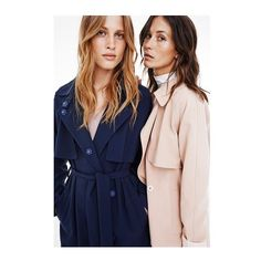These two coats are now in stores and online #sarahcoat #short #long #coats #ss16 #arrivals #campain with #models @laurajulish @emma_leth