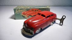 SCHUCO 1010 TIN WIND UP CAR 1940's MADE IN US ZONE GERMANY WORK GOOD & BOX & KEY #SCHUCO1001PATENT