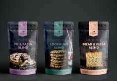 Karen Morgan of Blackbird Bakery has spent almost 15 years working to make gluten-free cooking an appealing, accessible option for all. She developed her line of flour blends to serve as easy foundations for thousands of sweet and savory recipes (many of which are MiniSuper tested and approved). MiniSuper Studio designed branding and packaging for this line of products. Brownie Packaging, Dessert Packaging, Pouch Packaging, Food Packaging Design, Brand Packaging, Gluten Free Pie, Sin Gluten, Gluten Free Cooking, Flour Bakery