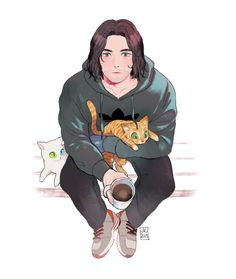 judy-kim-jump:    @badendnightotaku 's request! Bucky with cats and a cup of tea