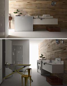 Washer/dryer hidden under sliding door, could then be installed in a bathroom or walk in closet....