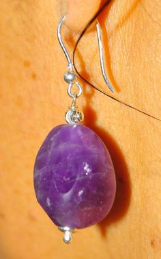 amethyst. golden 925 silver earrings di Oxidex su Etsy natural stone  Euro 25