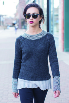 """Get It Now TheLinden Street Pullover by Kephren Pritchett is featured inknit.wear Fall/Winter 2016 and can be purchased with the magazine or as an individual pattern. Top down Raglan shaping Picked-up skirt Laceweight Fingering weight held double Difficulty: Expert Finished Size 32 (36¼, 39¼, 43¾, 48)"""" bust circumference. Pullover shown measures 36¼""""; modeled with 5¼""""…"""