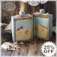 Smell of the Sea Vintage look Wooden box  / 2 pieces/ Beach House