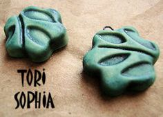 Charm set - Ceramic - Watery Jade- Flower - Perfect for Earrings- Handcrafted Art Beads   C28. $7.00, via Etsy.