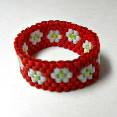 Flower Beadwoven Ring Peyote White and Red