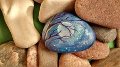 Hand painted rock, night sky, tree branch, moon and stars