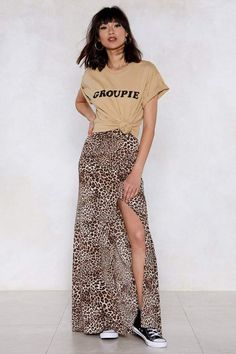 a05caed030a5 Nasty Gal Natural Attraction Leopard Skirt Maxi Pencil Skirt