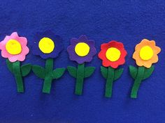 "Spring themed counting down rhyme! 5 pretty flowers in the meadow grew. ""Hmm,"" I said. ""I bet they smell pretty too."