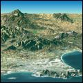 Perspective satellite image showing Cape Town and the Cape of Good Hope Image Shows, Cape Town, South Africa, Perspective, Gallery, Water, Outdoor, Gripe Water, Outdoors