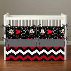 Mickey Mouse Theme Crib Bedding - Nursery Decor 3 Piece Set Bumper, Skirt…