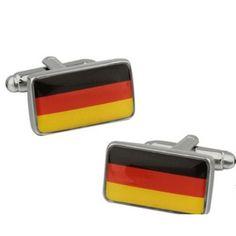 Bouton de manchette drapeau Allemagne rectangulaire