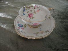 Vintage Floral tea cup and saucer set  Castleton by PeggiesPlace, $12.00