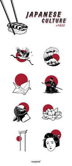 Japanese Drawings, Japanese Tattoo Art, Motif Vector, Japan Icon, Japan Illustration, Icon Illustrations, Pop Pilates, Fu Dog, Japan Art