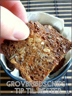 Har du også prøvet at have gammelt brød i overskud, som er blevet lidt tørt og træt i det? Så tryl det om til de sprødeste low fodmapvenlige grovbrødschips.