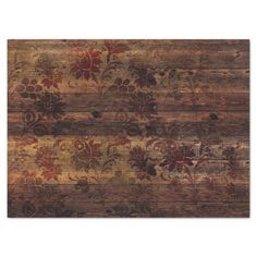 Brown Floral Rustic Wood Decoupage Tissue Paper | Zazzle.com Decoupage Tissue Paper, Custom Tissue Paper, Decoupage Art, Matching Gifts, Brown Floral, Diy Face Mask, Dark Wood, Small Gifts, Rustic Wood