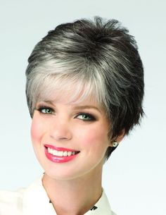Zoe Ladies Wig Hi Fashion by Rene of Paris in Midnight Pearl. Modern pixie style with flick layers Fringe: Crown: Nape: Weight: Hairstyles For Round Faces, Pixie Hairstyles, Graduation Hairstyles With Cap, Short Pixie Wigs, Hi Fashion, Wigs Online, Womens Wigs, Synthetic Wigs, Textured Hair
