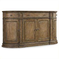 Hooker Furniture Solana 3-Drawer 4-Door Buffet ($2,159) ❤ liked on Polyvore featuring home, furniture, storage & shelves, sideboards, oak, outdoor furniture, storage shelf, outdoor storages, door shelves and outside furniture