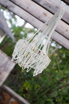 Mardi Gras bead chandelier