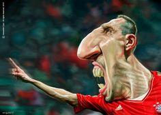 """CARICATURAS DE FAMOSOS: """"Franck Ribéry"""" por Sebastián Cast"""
