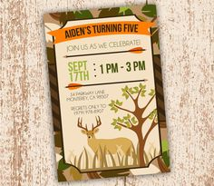 Join The Hunt - Birthday Party Invitation - Hunting Cameo Deer Arrow